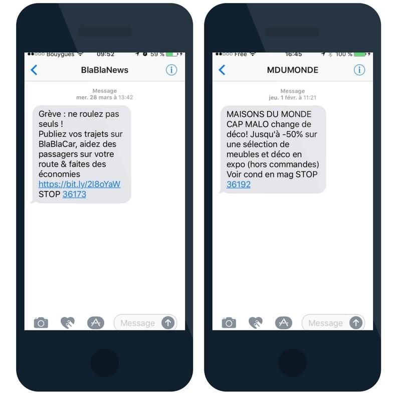 Exemples campagnes de communication SMS