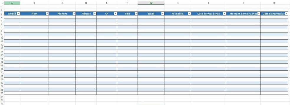 Comment Creer Un Fichier Client Excel