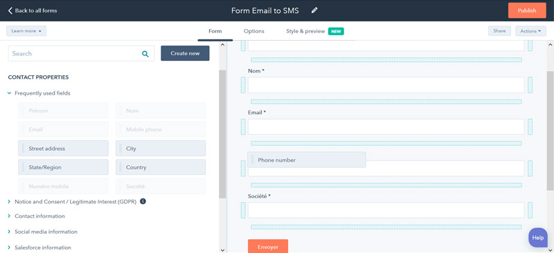hubspot sms integration field