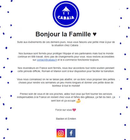 Exemple d'emailing de Cabaïa