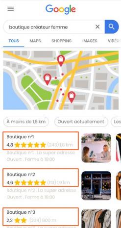 avis clients recherche Google