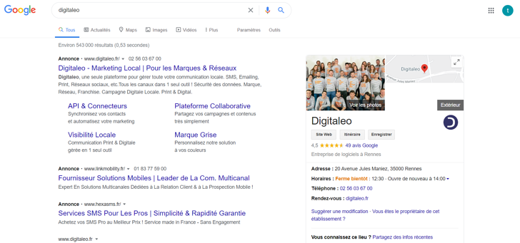 exemple presence management fiche google my business