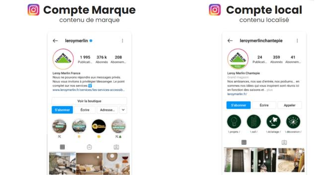 compte marque et compta local Instagram
