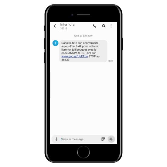 Exemple SMS marketing InterFlora