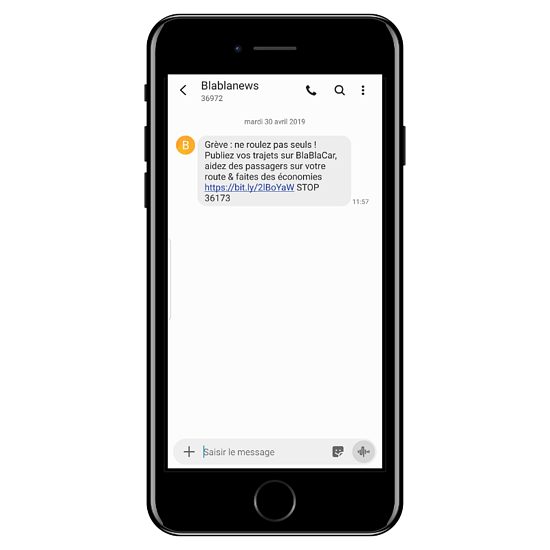 Exemple SMS marketing Blablacar