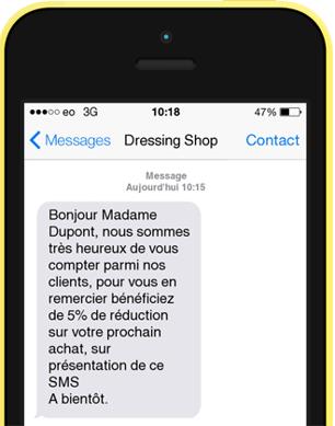 SMS de bienvenue