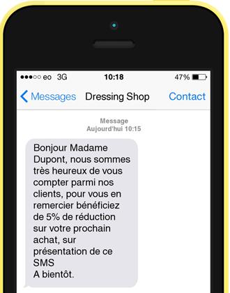 Exemple SMS de bienvenue