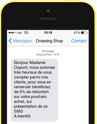Exemple SMS de bienvenue
