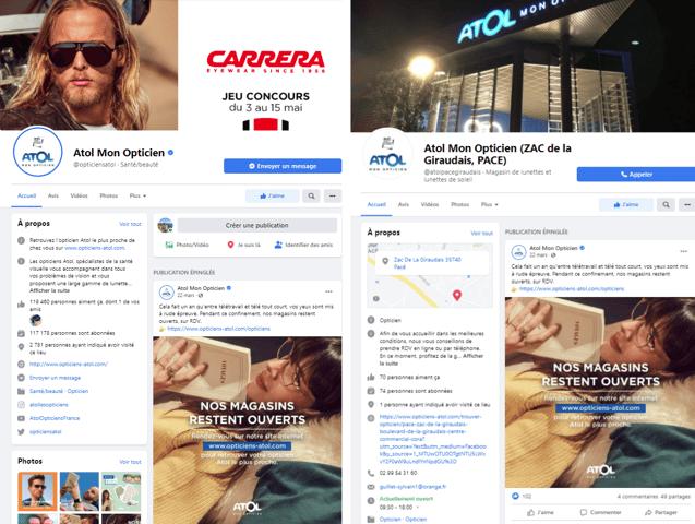 différences visuelles - pages marque et pages lieux Facebook