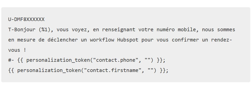 code sms to email hubspot
