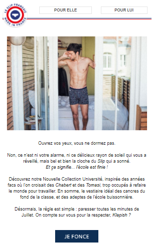 Newsletter Le Slip Français