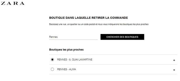 Click and collect chez Zara